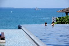 Luxury high swimming pool Stock Photos