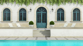 Luxury holiday villa with Pool Stock Photos
