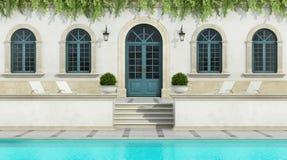 Luxury holiday villa with Pool Stock Photos