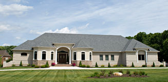 Luxury Home. Large luxury ranch-style home Stock Photos