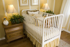 Luxury home baby bedroom stock image