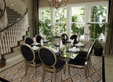 Luxury home dining room Royalty Free Stock Images