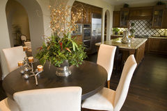 Luxury home dining room and kitchen. Royalty Free Stock Photography