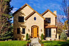 Luxury Home Front. All stone facade two story luxury home in Denver, Colorado, United States Stock Photography