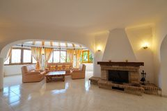 Luxury home interior. With fireplace Royalty Free Stock Image