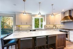 Beautiful black and white kitchen design. royalty free stock photo