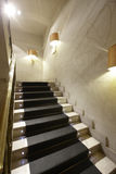 Luxury home interior with marble stairs. And black carpet Stock Photo
