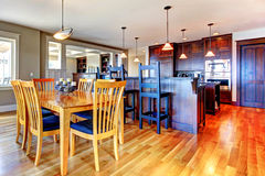 Luxury home kitchen and dining room Stock Photos