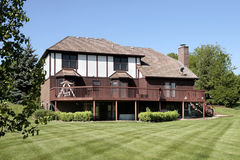 Luxury home with large deck Royalty Free Stock Image