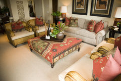 Luxury home living room stock photography
