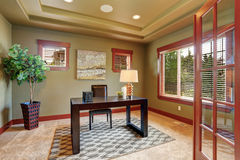 Luxury home office with green interior paint. Stock Photos