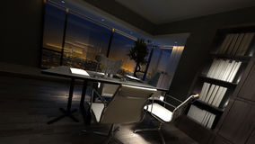 Luxury home office interior at night Stock Photography