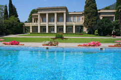 Luxury Home Pool. Picture of a luxury home swimming pool and back-yard Royalty Free Stock Photos