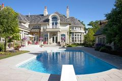 Luxury Home Pool Shot. Picture of a Luxury Home Swimming Pool and Back- yard Royalty Free Stock Images