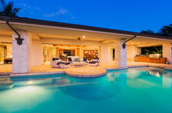 Luxury Home with Pool at Sunset. Beautiful Luxury Home with Swimming Pool at Sunset stock photos