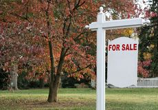 Luxury Home For Sale Sign Stock Image