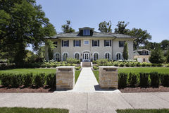 Luxury home with stone pillars Royalty Free Stock Photography