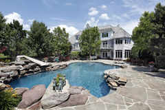 Luxury home with swimming pool. Rear view of luxury home with swimming pool Stock Photos