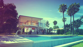 Luxury Home with Swimming Pool and Palm Trees stock illustration