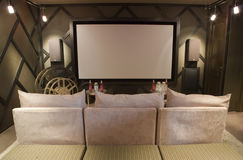 Luxury home theater. Spacious home theater with cinema decor Royalty Free Stock Image