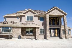Luxury home under construction Royalty Free Stock Photos