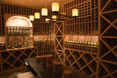 Luxury home wine cellar. Stock Photo