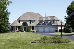 Luxury Home With Three Car Garage Royalty Free Stock Photo