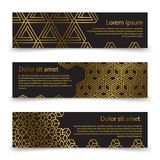 Luxury horizontal banners template with golden geometric shapes Stock Photos