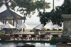Luxury hotel in Bali. A place by the pool, designed for rest and relaxation Stock Images