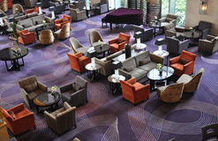 Luxury hotel bar lounge. With dark colored carpet Royalty Free Stock Images