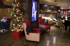 Luxury hotel bar. Nice sofa chairs and Christmas tree decorated in a Casino hotel bar in Seattle stock photography
