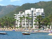 Luxury hotel with beach shore in marmaris turkey Stock Images