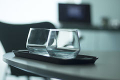 Luxury hotel bedroom glasses Royalty Free Stock Images