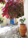 Luxury hotel building balcony and terrace santorini Greece Stock Images