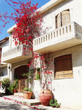 Luxury hotel building balcony and terrace santorini Greece Stock Photography