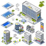 Luxury Hotel Buildings Isometric Icons. Set with palm trees and pools full of blue water   vector illustration Royalty Free Stock Photo
