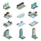 Luxury Hotel Buildings Isometric Icons Stock Photography