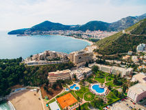 Luxury hotel complex Dukley in Budva, Montenegro. Shooting with. The drone, aerial Royalty Free Stock Photos
