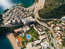 Luxury hotel complex Dukley in Budva, Montenegro. Shooting with. The drone, aerial Stock Photos