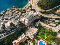 Luxury hotel complex Dukley in Budva, Montenegro. Shooting with. The drone, aerial Royalty Free Stock Photography