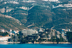 Luxury hotel complex Dukley in Budva, Montenegro. Shooting with. The old town of Budva promenade Stock Image