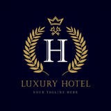 Luxury Hotel crown and key letter `H` monogram logo. Laurel elegant beautiful round logo with crown and key. Vector letter emblem sign H for Royalty, Restaurant stock illustration