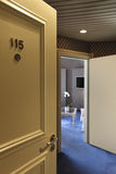 Luxury hotel, door open. Interior luxury hotel, door open royalty free stock photography