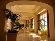 Luxury Hotel Entrance Corridor Stock Photo