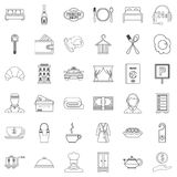 Luxury hotel icons set, outline style. Luxury hotel icons set. Outline style of 36 luxury hotel vector icons for web isolated on white background Stock Image