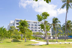 Luxury hotel with infinity pool royalty free stock images