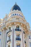 Luxury hotel InterContinental Carlton detail in Cannes. CANNES, FRANCE - JULY 29: Luxury hotel InterContinental Carlton, located on the famous La Croisette stock photo