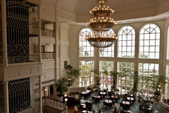Luxury Hotel Lobby. A luxury hotel lobby with tall windows Royalty Free Stock Photography