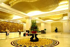The luxury hotel lobby