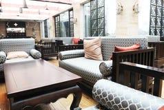 The luxury hotel lobby stock photo